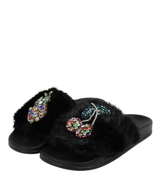 Dune London Black Luscious Di Slides