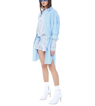 Juicy Couture Blue Knee Length Striped Shirt Dress