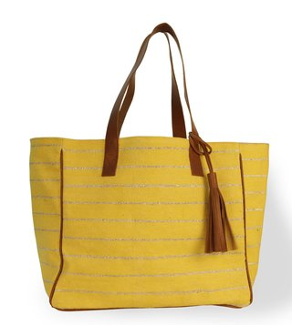 Kannbar Yellow & Silver Esha Striped Tote