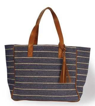 Kannbar Blue & Silver Esha Striped Tote