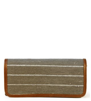 Kannbar Grey & Silver Esha Striped Clutch
