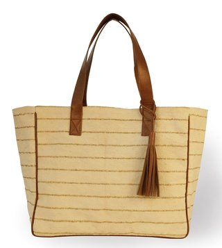Kannbar Off White & Gold Esha Striped Tote