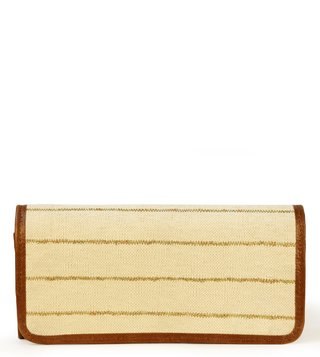 Kannbar Off White & Gold Esha Striped Clutch