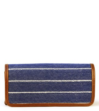 Kannbar Blue & Silver Esha Striped Clutch