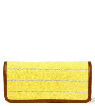 Kannbar Yellow & Silver Esha Striped Clutch