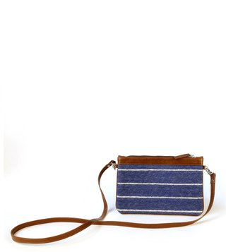 Kannbar Blue & Silver Esha Striped Mini Sling