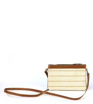 Kannbar Off White & Gold Esha Striped Mini Sling