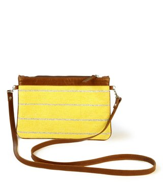 Kannbar Yellow & Silver Esha Striped Mini Sling