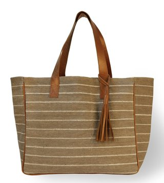 Kannbar Grey & Silver Esha Striped Tote