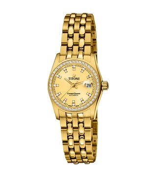 Titoni 729 G-DB-306 Gold Analog Watch For Women
