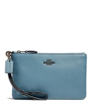 Coach Dark Chambray Heart Applique Wristlet