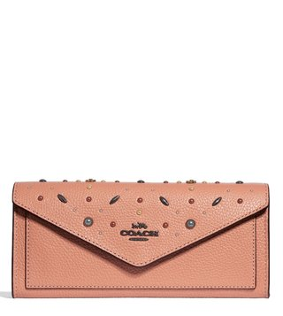 Coach Dark Blush Prairie Rivets Soft Wallet