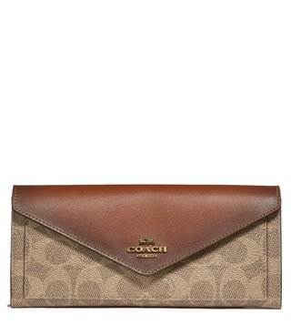 Coach Tan & Rust Colorblock Coated Canvas Soft Wallet