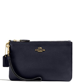 Coach Light Navy Polished Pebble Wristlet