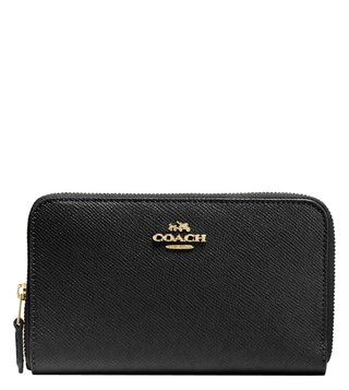 Coach Light Black Crossgrain Leather Zip Around Wallet