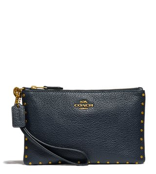Coach Midnight Navy Border Rivets Wristlet