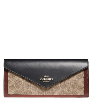 Coach Tan & Black Colorblock Coated Canvas Soft Wallet