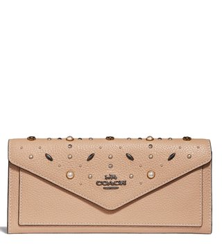 Coach Dark Beechwood Prairie Rivets Soft Wallet