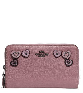 Coach Dusty Rose Zip Around Heart Applique Wallet