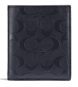 Coach Midnight Slim Coin In Signature Crossgrain Wallet