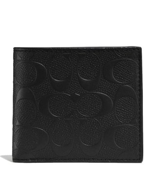 Coach Black Coin In Signature Crossgrain Wallet