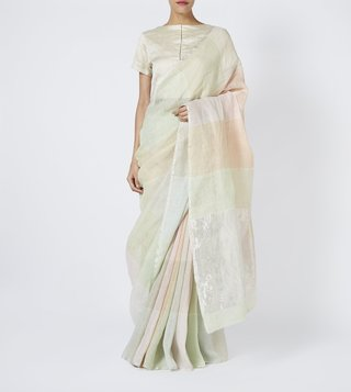 Anavila Soft Green Summer Checks Linen Saree