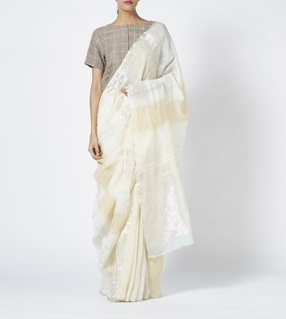 Anavila Ivory Silver Striped Linen Saree