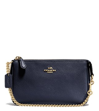 Coach Light Navy Polished Pebble Nolita 19 Wristlet