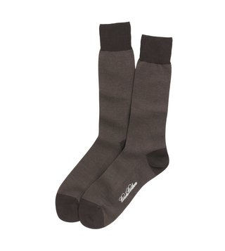Brooks Brothers Brown Cotton Bird's Eye Crew Socks