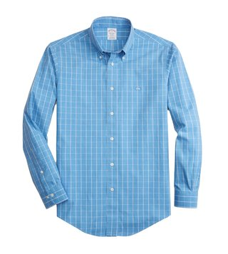 Brooks Brothers Light Blue Non-Iron Windowpane Sport Shirt
