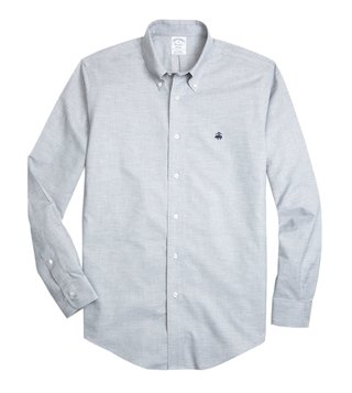 Brooks Brothers Grey Non-Iron Heathered Oxford Sport Shirt