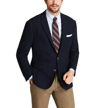 Brooks Brothers Navy Textured Two Button Blazer
