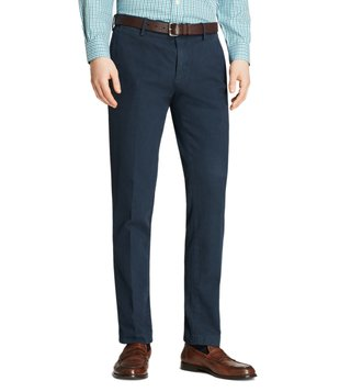 Brooks Brothers Navy Garment Dyed Broken Twill Chinos