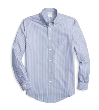 Brooks Brothers Open Blue Striped Sport Shirt