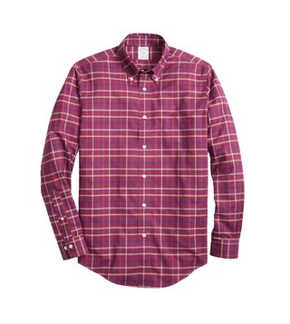 Brooks Brothers Dark Pink Non-Iron Windowpane Sport Shirt