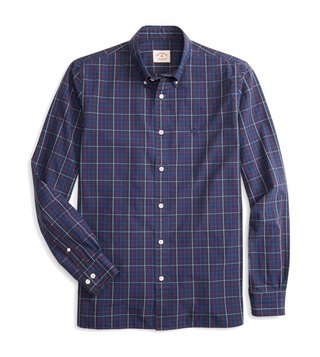 Brooks Brothers Red Fleece Navy Checks Sport Shirt