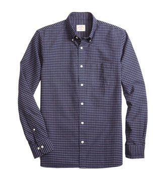 Brooks Brothers Red Fleece Navy Windowpane Oxford Sport Shirt