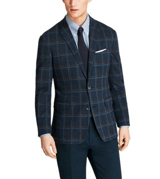 Brooks Brothers Navy Windowpane Knit Sport Coat