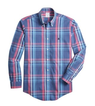Brooks Brothers Navy Non-Iron Plaid Sport Shirt