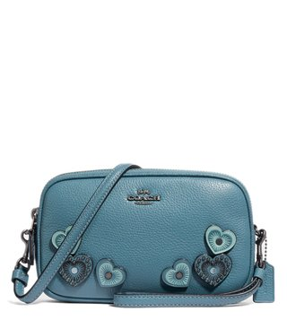 Coach Dark Chambray Heart Applique Cross Body Bag