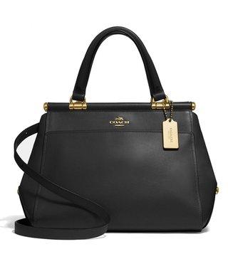 Coach Light Black Refined Leather Grace Satchel