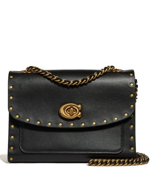 Coach Black Parker 18 Textured Shoulder Bag