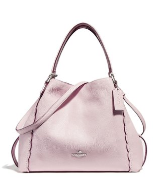 Coach Ice Pink Edie 28 Scalloped Textured Shoulder Bag