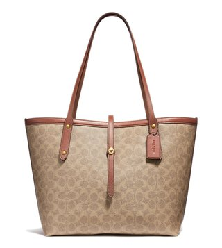 Coach Tan & Rust Coated Canvas Signature Market Tote