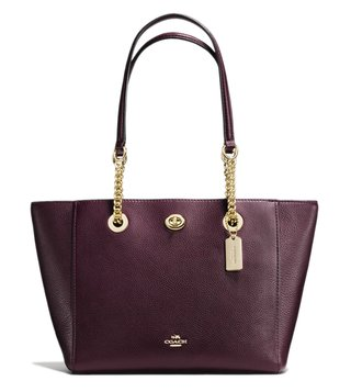 Coach Light Oxblood Turnlock 27 Chain Tote