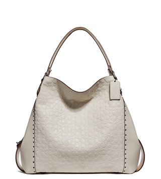 Coach Chalk Edie 42 Logo Shoulder Bag