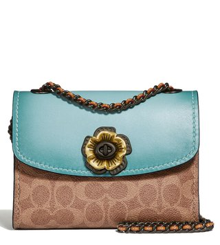 Coach Light Turquoise Parker 18 Signature Logo Shoulder Bag