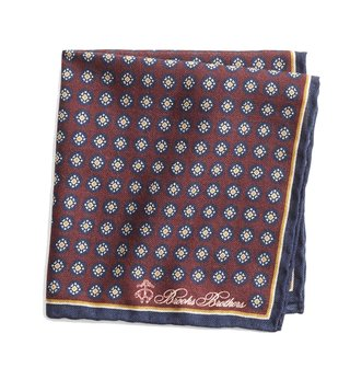 Brooks Brothers Dark Red Medallion Printed Pocket Square