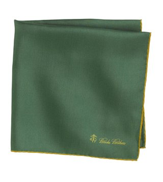 Brooks Brothers Green Silk Pocket Square