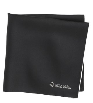 Brooks Brothers Black Silk Pocket Square